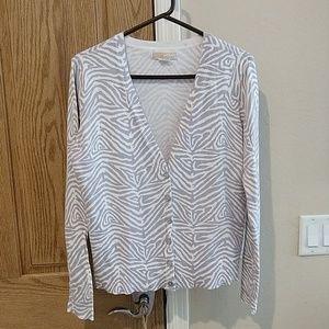 Michael Kors, grey/white button down sweater